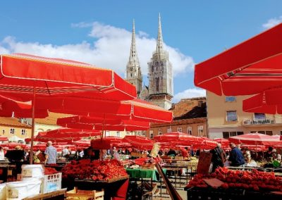 Market and cathedral, Zagreb, Croatia