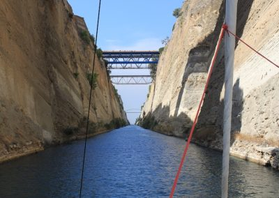 Travelling through the Corinth Canal, Greece