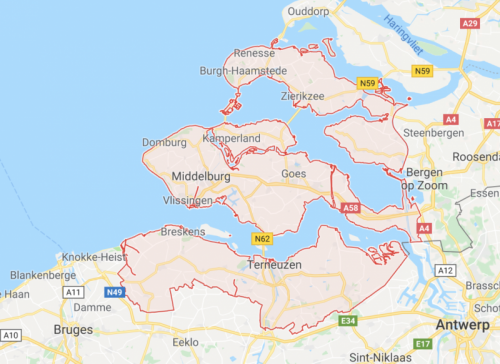 Zeeland map, The Netherlands