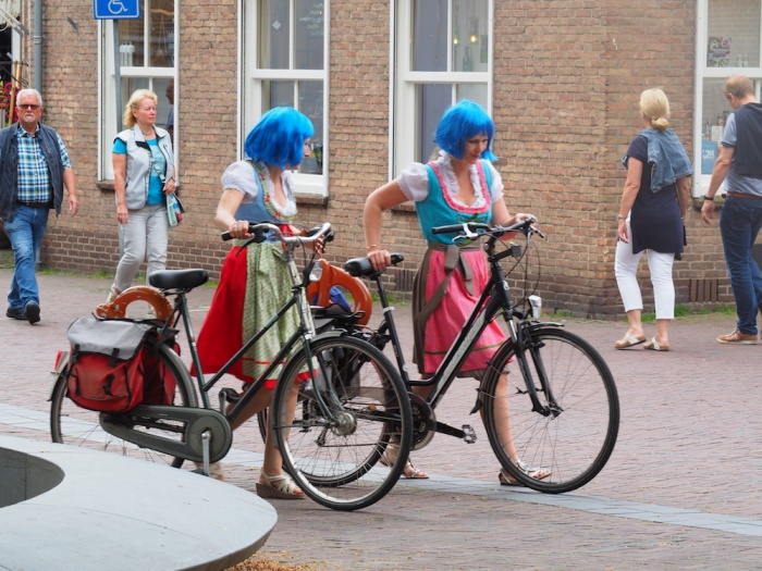 Dutch girls cycling, Middleburg, Zealand, The Netherlands