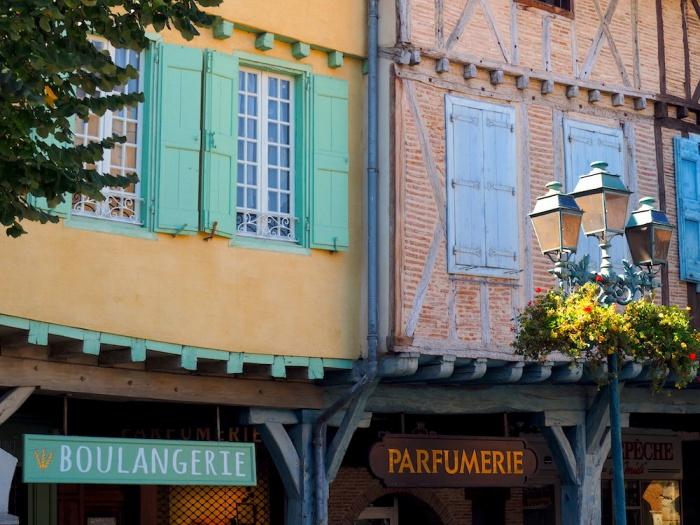 Revel arcade shops, Medieval style, Revel, France