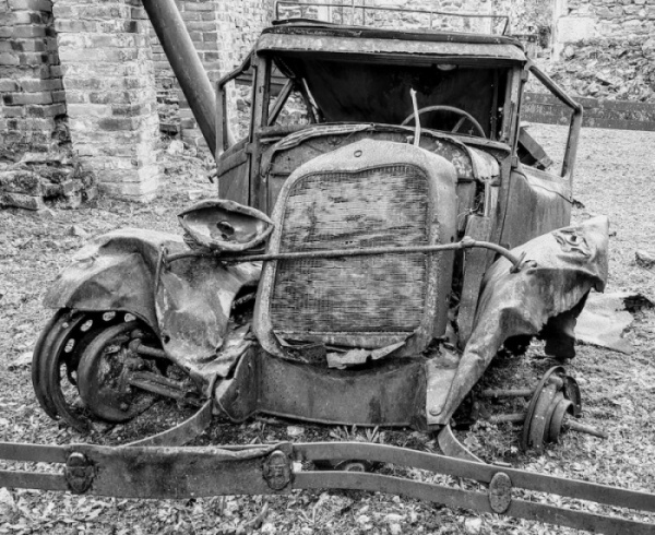 1944 Oradour car left to rust, Oradour sur Glane, France