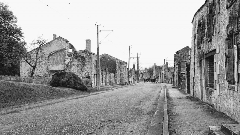 Oradour high street, Oradour sur glane, France