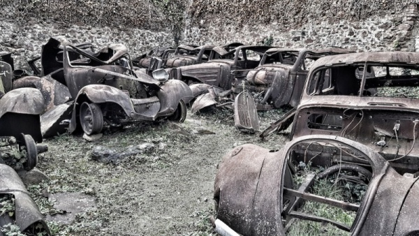 Oradour graveyard - for cars, Oradour sur glane, France