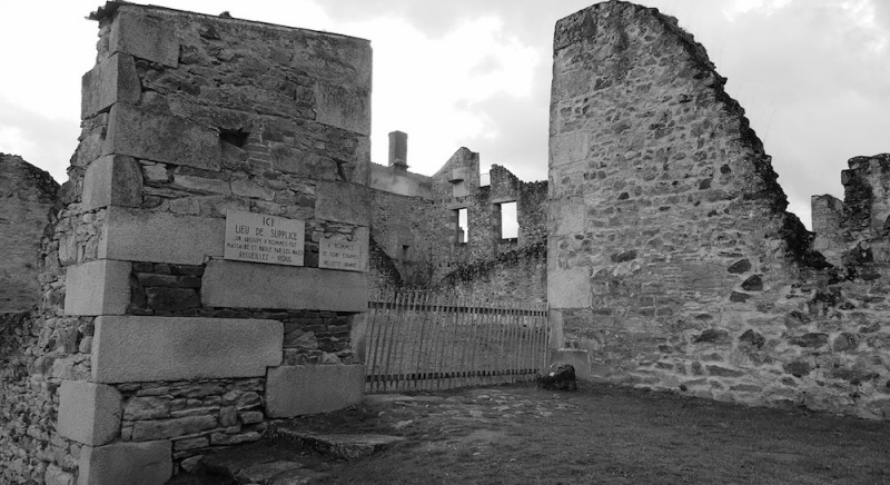 Oradour massacre spot, one of six, Oradour sur glane, France