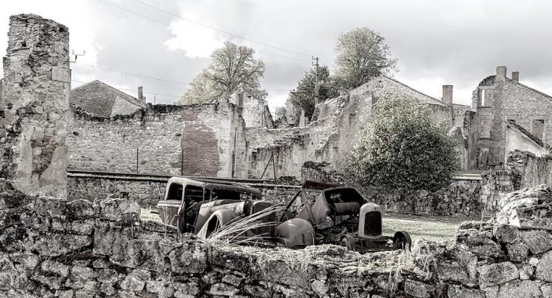 Oradour village ruins