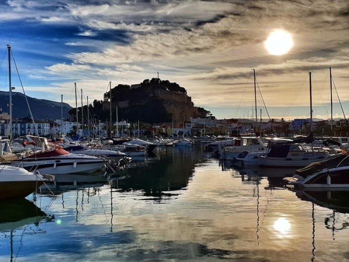 Denia castle and marina sunset, Denia, Spain