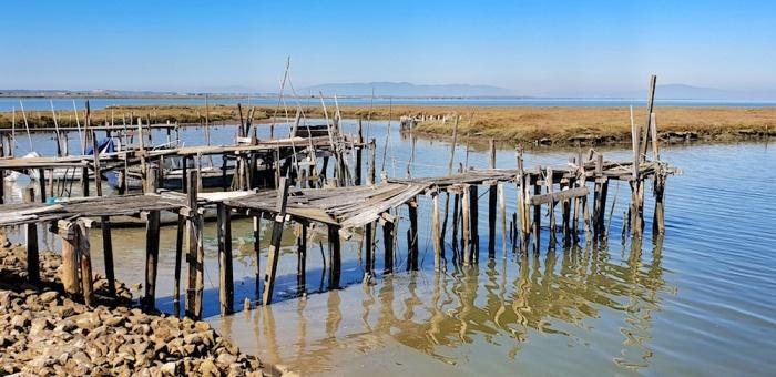 Comporta pontoons low tide,Portugal