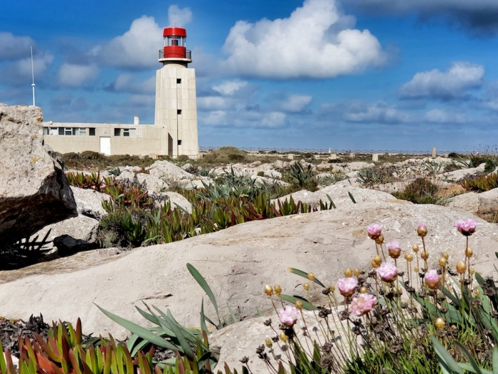 Sagres lighthouse and flowers,Sao Vicente lighthouse,Portugal
