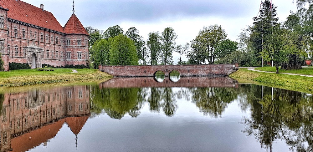 Voergaard Castle and moat