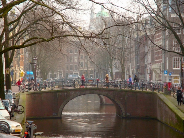 Amsterdam bridge and bikes, The Netherlands