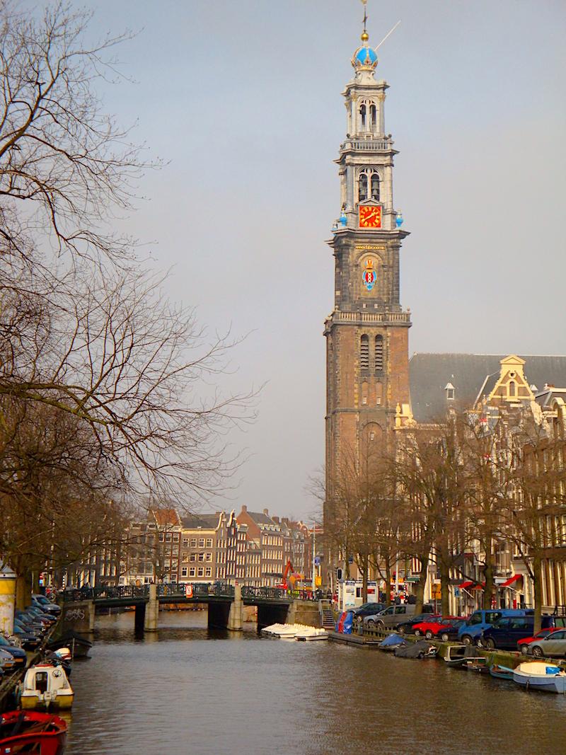 Amsterdam towering church spire