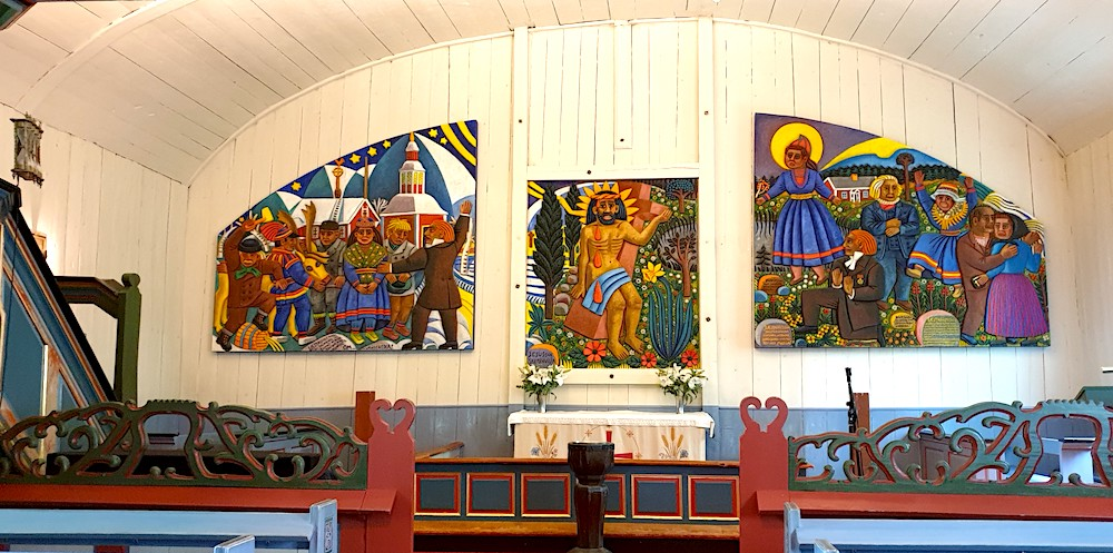 Sami church paintings Jukkasjarvi, Sweden