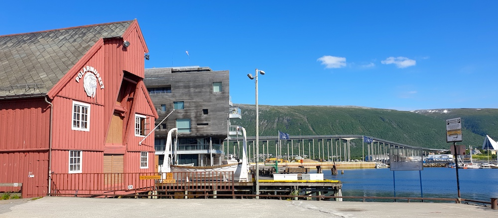 Polar museum, bridge and Arctic Church, Tromso, Norway